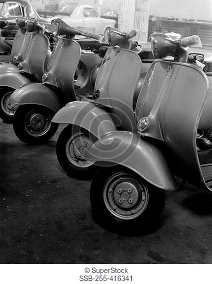Newly produced scooters in factory