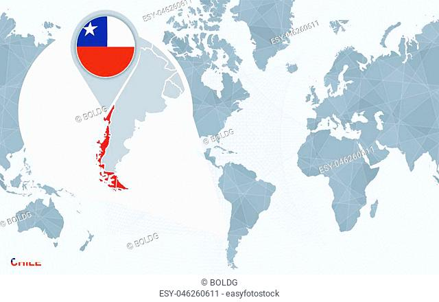 World map centered on America with magnified Chile. Blue flag and map of Chile. Abstract vector illustration