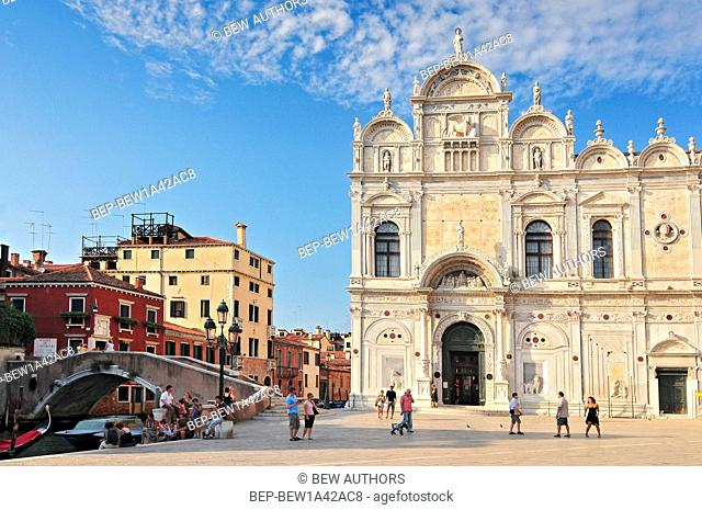 view of the scuola grande di san marco now hospital in venice nearby the basilica of santi giovanni e paolo. Venice Italy