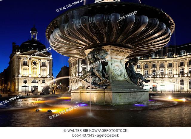 France, Aquitaine Region, Gironde Department, Bordeaux, Place de la Bourse buildings, dusk
