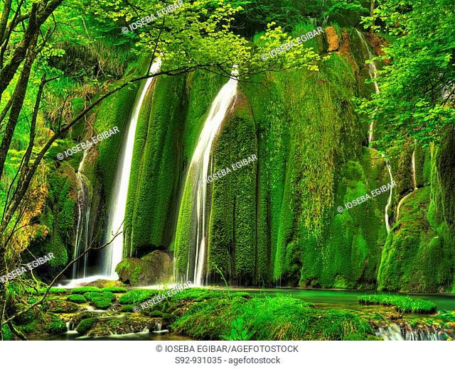 Waterfall, Andoin, Araba, Basque Country, Spain