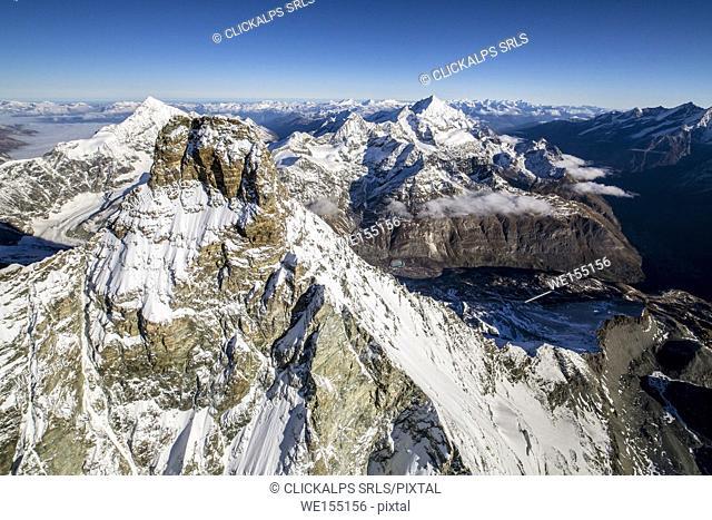 Aerial view of the south face of the Matterhorn Zermatt canton of Valais Switzerland Europe