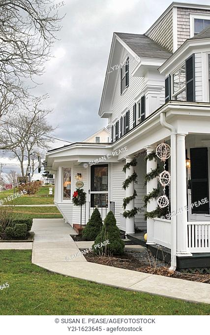 Shops in the town of Chatham decorated for the Christmas season  Chatham, Massachusetts, United States