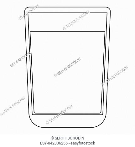 Glass with fluid the black color icon vector illustration