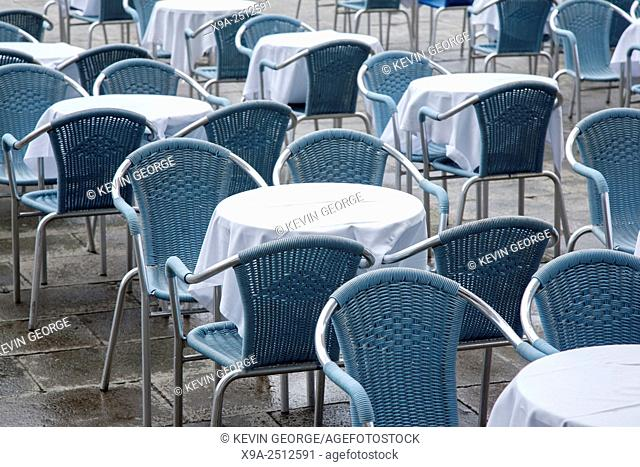 Cafe Tables and Chairs in San Marcos - St Marks Square; Venice; Italy