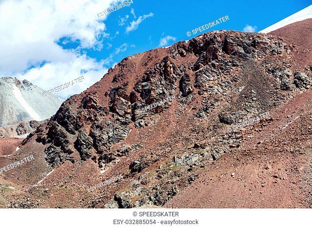 Red rocks in Tien Shan mountains. Kyrgyzstan