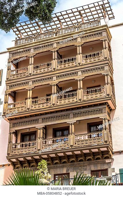Typical wooden balconies of the 'Hotel Santa Catalina', Parc Doramas, Las Palma, Gran Canaria, the Canaries, Canary Islands, Spain, Europe