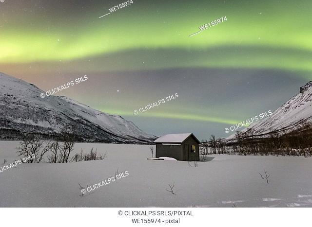A bit of green in the arctic sky,Breivikeidet,Troms county,Norway,Europe