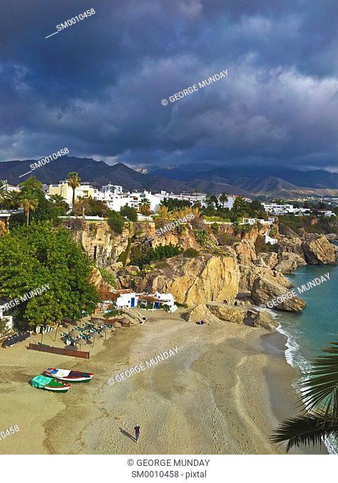Playa Calahonda, Below the Balcón de Europe, Nerja, Malaga, Spain