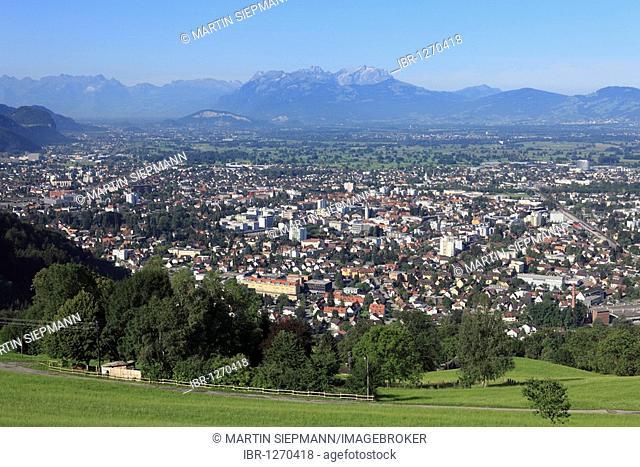 Dornbirn and the Rhine Valley, view from Dreilaenderblick lookout point, Vorarlberg, Austria, Europe