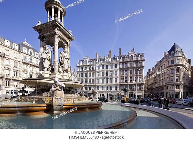 France, Rhone, Lyon, Peninsula, historic site listed as World Heritage by UNESCO, Place des Jacobins Jacobins square