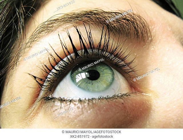 Detalle de un ojo verde con pestañas maquilladas con rimmel