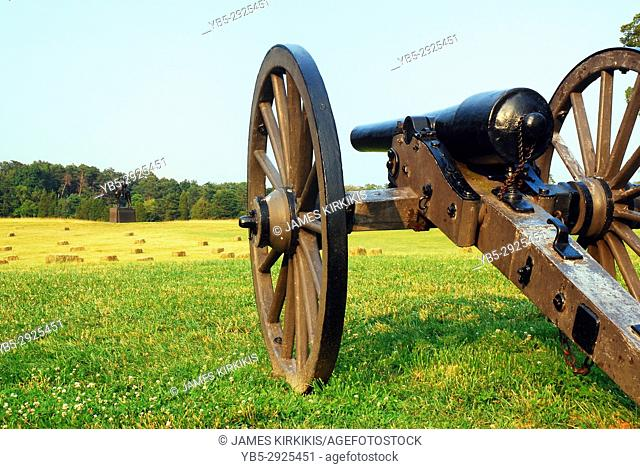 A Cannon Recalls the American Civil War at Manassas National Battlefield in Virginia
