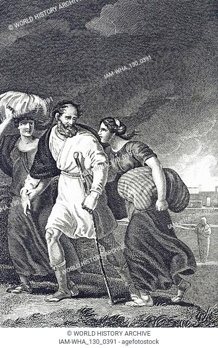 An engraving depicting Lot fleeing Sodom and Gomorrah when an earthquake circa 1900 BC destroyed them. In the background (right) is Lot's wife turned into a...