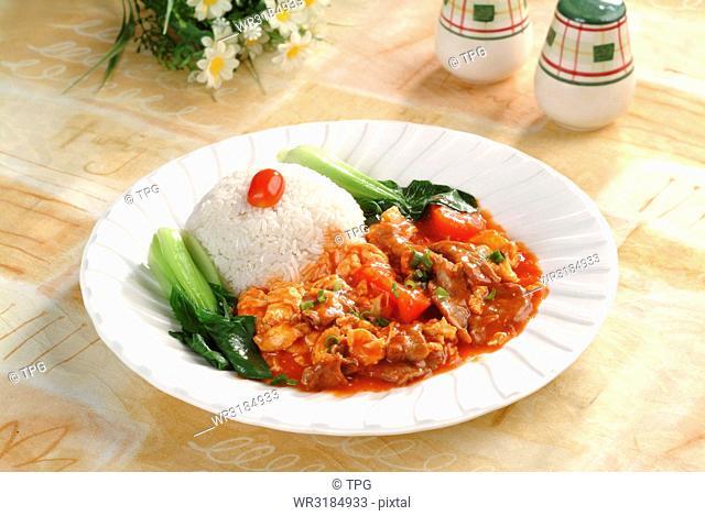 tomato beef over rice