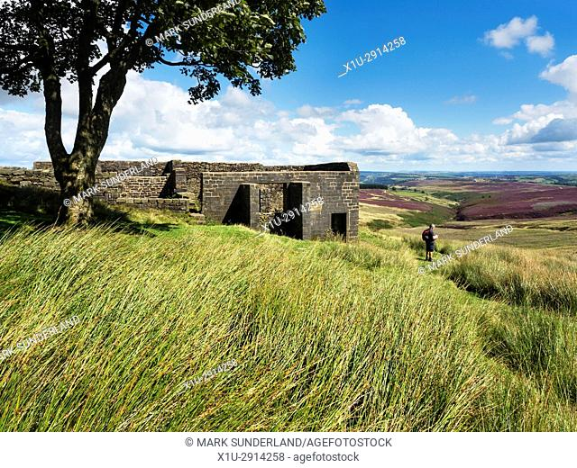 Walker at Top Withins on Haworth Moor in Summer near Haworth West Yorkshire England