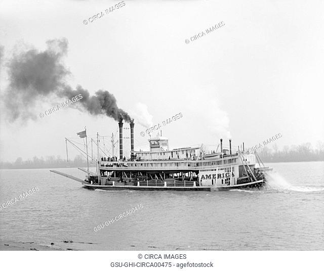 River Boat, Mississippi River, USA, circa 1906