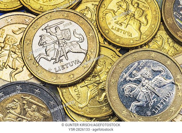 Many euro coins from Lithuania