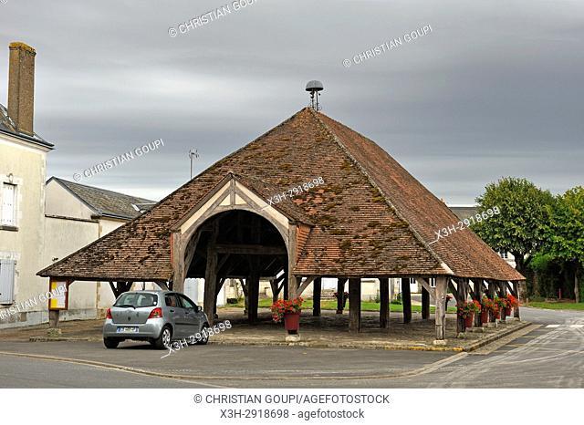 covered market at Ascheres-le-Marche, Loiret department, Centre-Val-de-Loire region, France, Europe
