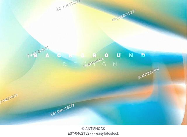 Holographic paint explosion design, fluid colors flow, colorful storm. Liquid mixing colours motion concept, trendy abstract background layout template for...