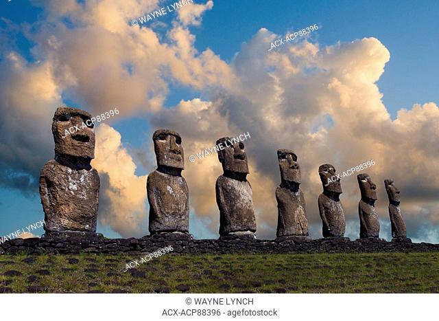 Ceremonial moai, Akivi, Easter Island