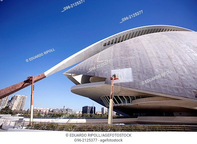 workers reparing the swooping mosaic roof at Palau de les Arts Reina Sofia opera house at the Ciudad de las Artes y las Ciencias de Valencia by Santiago...