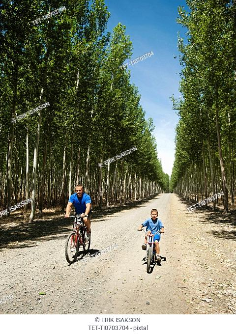 Father with son 8-9 cycling on country road