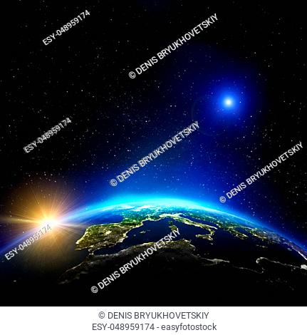 Europe city lights. Elements of this image furnished by NASA. 3d rendering