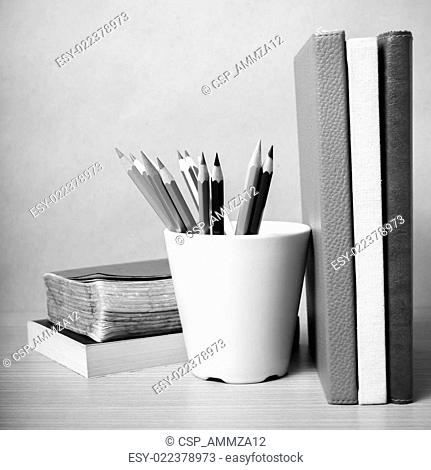 book and color pencil black and white color tone style