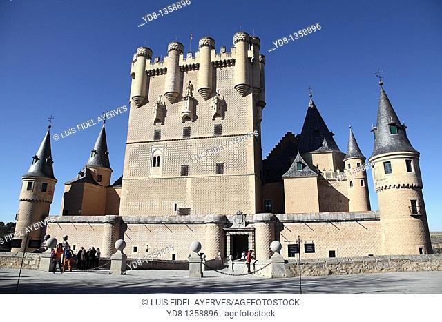 Panoramic View of the Alcazar de Segovia, Spain