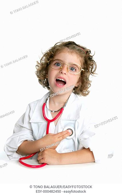 Cute little girl pretending to be a doctor with stethoscope over white