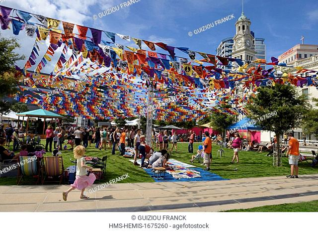New Zealand, North Island, Auckland, the Auckland Arts Festival 2013 in Aotea Square, near the City Hall ; Fly Me Up To Where You Are gathers the hopes and...