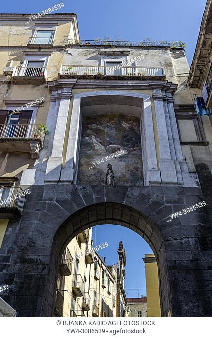San Gennaro Gate from 16th century and fresco of Mattia Preti 17th century, one of the gates of the Old Town, Naples, Italy