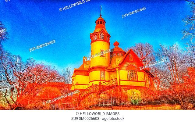 Hunter's Hut, Djurgarden, Stockholm, Sweden, Scandinavia. Designed by architect Frederik Lilljekvist in 1897and erected for the Stockholm Exhibition of 1897 as...