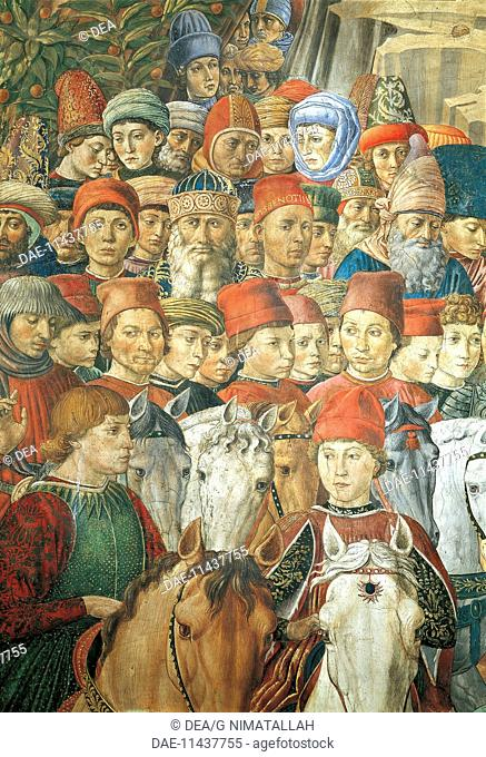 The cavalcade of the Magi, 1459, by Benozzo Gozzoli (1420-about 1497), fresco. Detail depicting the parade from the east wall showing Sigismondo Malatesta
