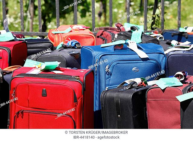 Luggage, suitcases of a tour group, Hesse, Germany
