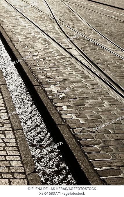 Tram track and water gutter  Freiburg im Breisgau Baden Wuerttemberg  Germany