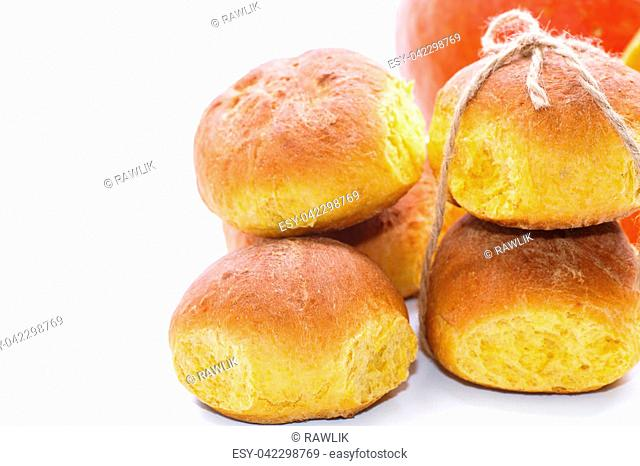 Pumpkin sweet buns on a white background