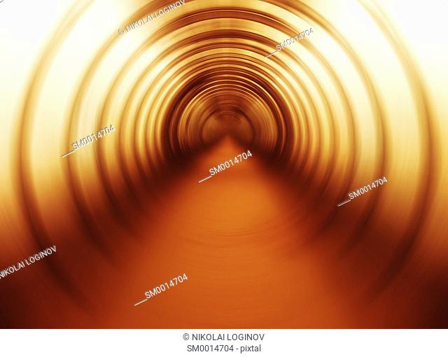 Horizontal vivid orange swirl twirl bright abstraction tunnel background backdrop