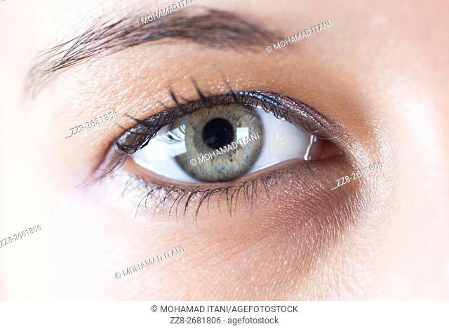 Close up of a young woman's eye