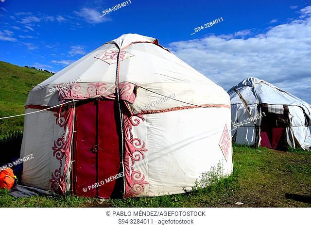 Yurts in the Kolsai lake number One, Kungey Alatau, Kazakhstan