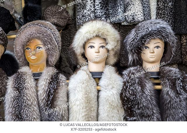 Fur hats for sale, Khiva, Uzbekistan