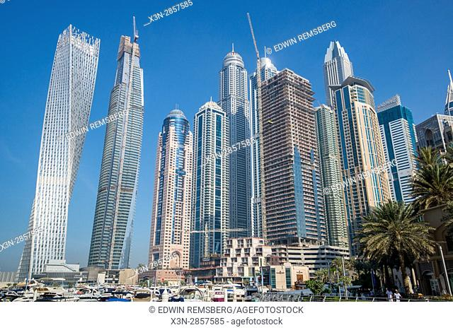 Dubai; United Arab Emirates - Skyscrapers over marina in Dubai