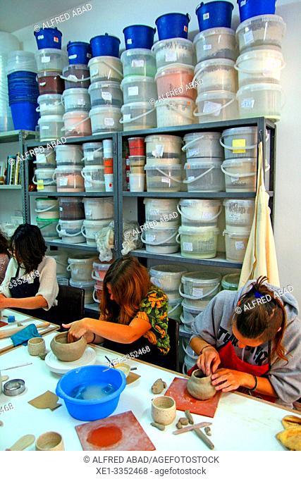 Ceramic workshop, Gracia District, Barcelona, Catalonia, Spain