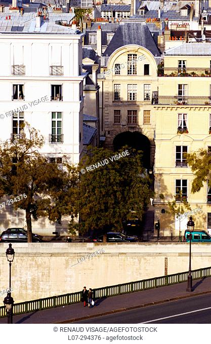 Aerial view of Pont de Sully and rooftops. Paris. France