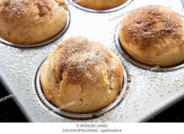 Doughnut Muffins in Muffin Tin, Close-Up