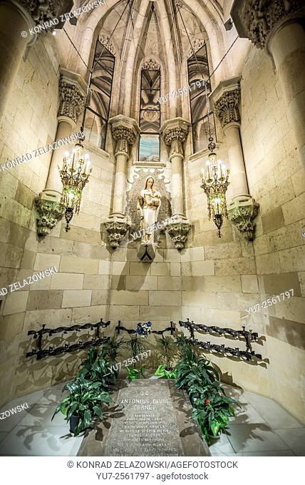 Antoni Gaudi tomb in Basilica and Expiatory Church of the Holy Family designed known as Sagrada Familia in Barcelona, Spain