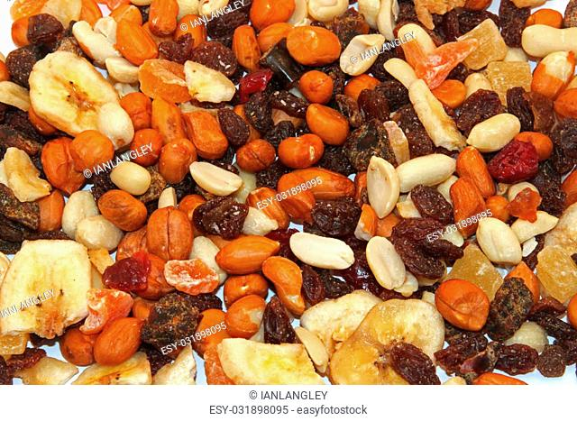 Close up of mixed dried fruit and nuts
