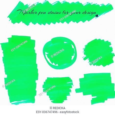 Neon green marker pen spots and lines isolated on a white background for your design. Vector illustration