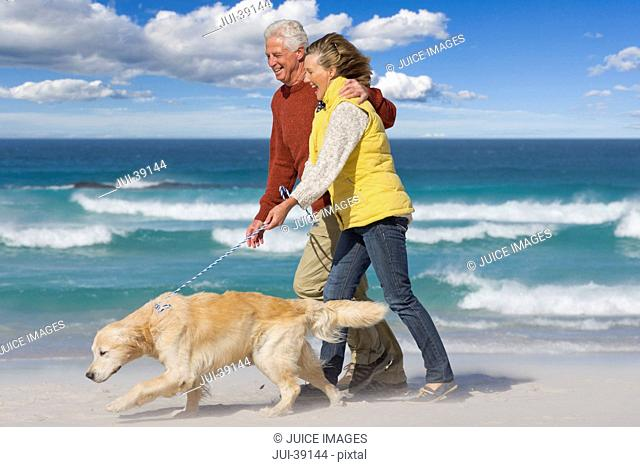 Senior couple with dog walking on sunny beach
